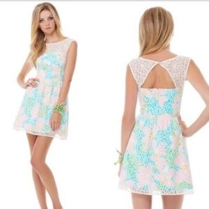 Lilly Pulitzer 6 Lace Overlay Dress Fit Flare Morrison